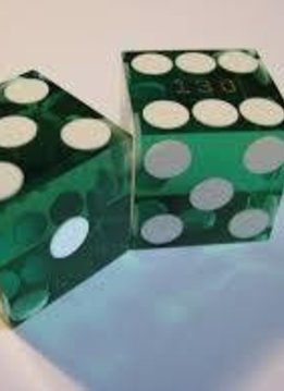 Casino Precision Dice Pair- Green/White Transparent