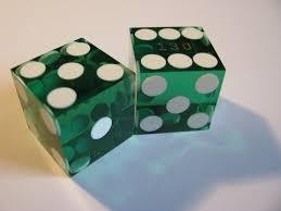 Casino Precision Dice Pair- Green/White Transparent