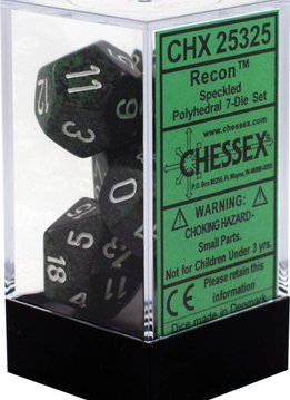 25325: 7 speckled polyhedral die set Recon