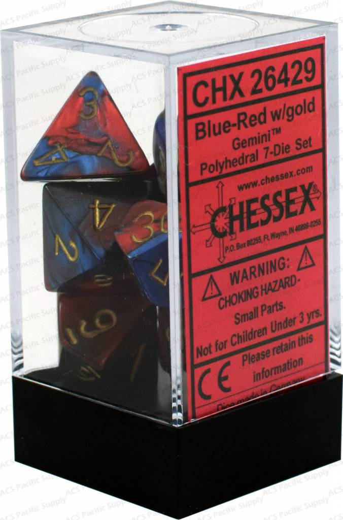 26429 blue-red w/ gold poly (7) DICE SET