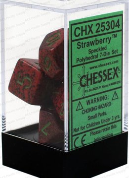 25304 Speckled Strawberry 7pc Dice Set