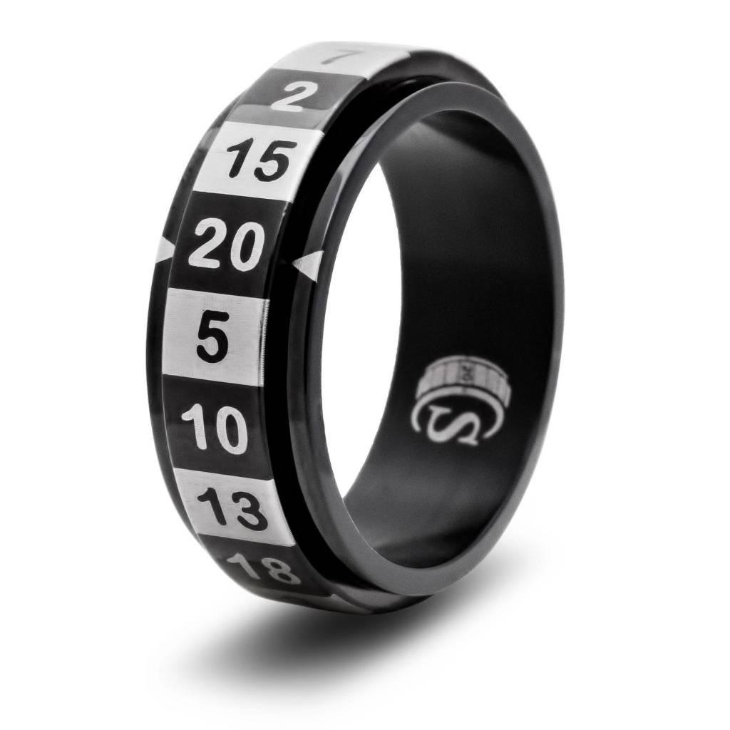 R20 Dice Ring - Black Size 9