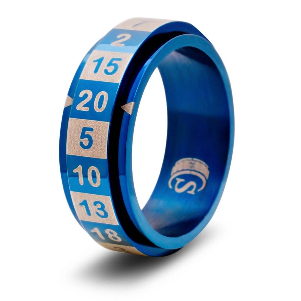 R20 Dice Ring - Blue Size 9