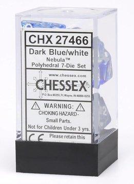 27466 Nebula Dark Blue w/ White 7pc Dice Set