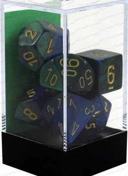 26436 Gemini Blue/Green w/ Gold 7pc Dice Set