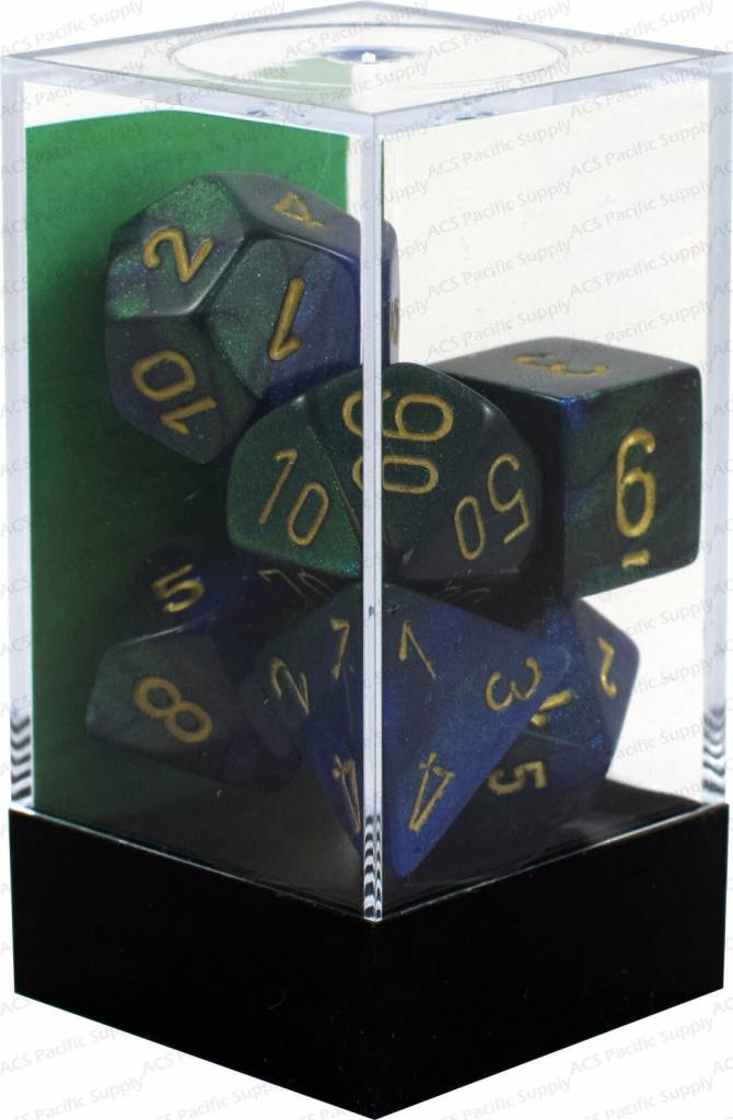26436 Gemini Blue/Green w/ Gold 7pc Dice Set