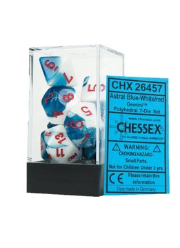 26457: Gemini Astral Blue-White w/ Red 7pc Dice Set