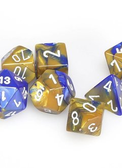 26422 7pc Dice Set Gemini Blue & Gold w/ White