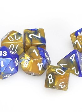 7pc Dice Set Gemini Blue & Gold w/ White