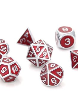 Metal Gemstone Dice Set - Silver Ruby