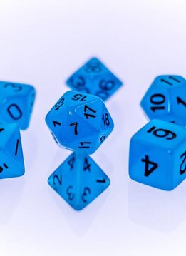 RPG 7 Dice Set - Glow in the Dark Blue