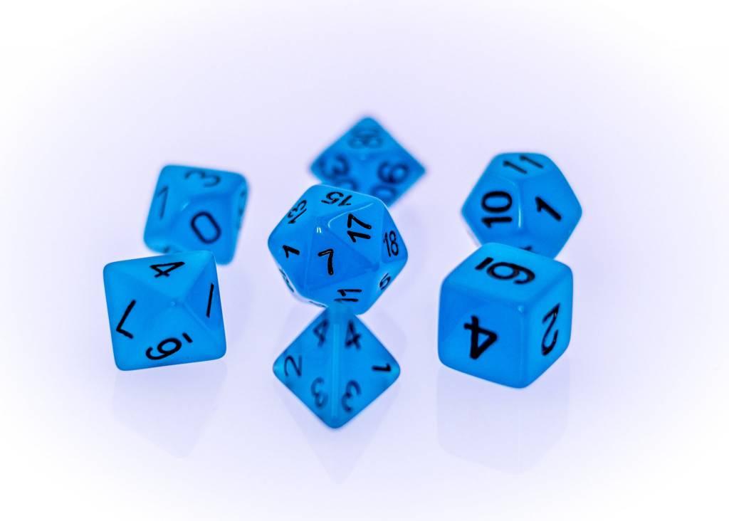 RPG 7 Dice Set - Glow in the Dark Blue