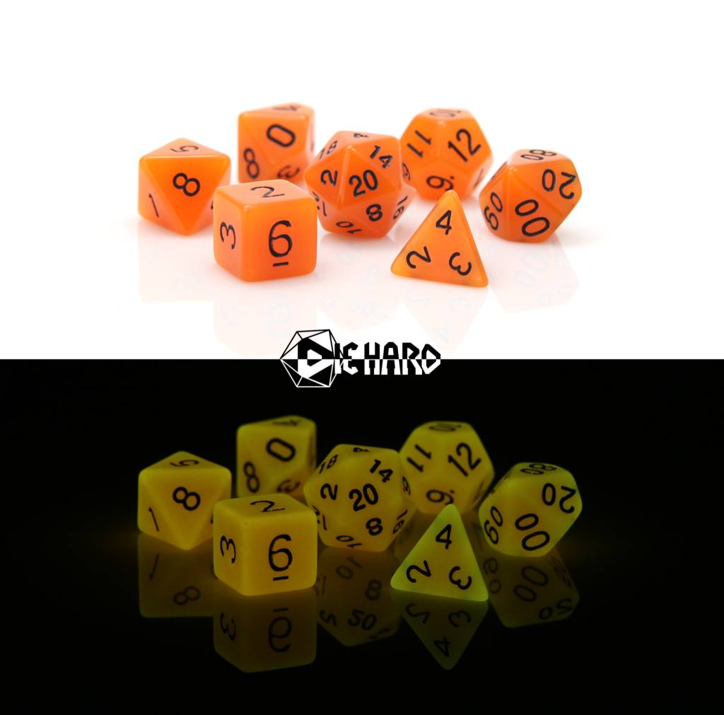 RPG 7 Dice Set - Glow in the Dark Orange