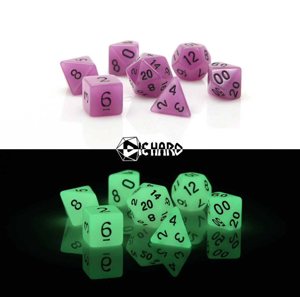 RPG 7 Dice Set - Glow in the Dark Purple