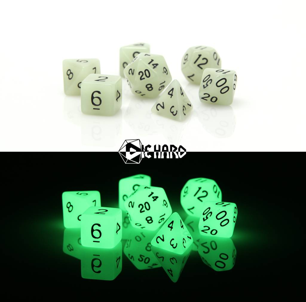 RPG 7 Dice Set - Glow in the Dark White