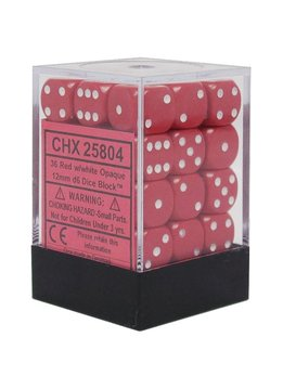 25804 Opaque 12mm 36d6 Red/white Dice Block