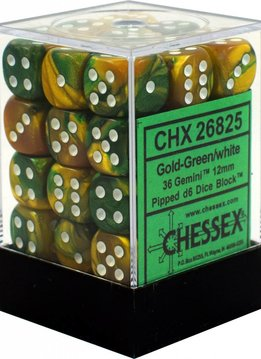 26825: 36d6 Gemini Gold & Green with White Pips