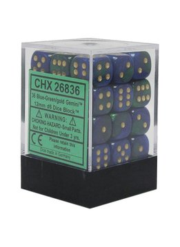 26836 36 blue-green w/gold gemini d6
