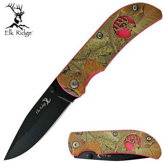 Elk Ridge Knife ER-120 Pink Camo Folder Plus Clip