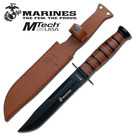 MTech Knife MT-122MR Marines Partially Serrated Leather Handle & Sheath