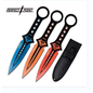 Perfect Point Knives  K-PP-123-3 Perfect Point Blue Orange & Red SKULL Throwers