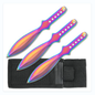 Perfect Point Knives K-RC-001RB Perfect Point Rainbow Titanium 3 Throwing Knife Set