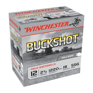 "Winchester AMMO 12g Lead Winchester Buckshot SSG 2-3/4"" 18Pellet (Box 25)"