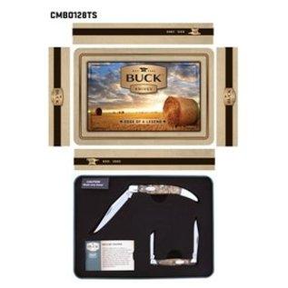 Buck Knives KNI Buck Burlwood Tin Combo CMBO128TS-C