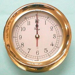 "VICTORY VICTORY BEZEL BRASS CLOCK 6"" *CLEARANCE*"
