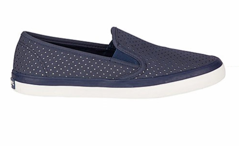 SPERRY SPERRY SEASIDE NAVY PERFORATED LEATHER BOAT SHOE (WOMEN'S)