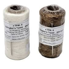 BREWER WAXED POLYESTER WHIPPING TWINE (4 OZ) W/ # 14 NEEDLE<br /> 100LB TEST ( WHITE )