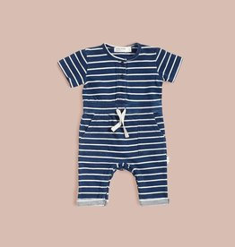 baby store in Canada - MILES BABY Miles Baby Striped Indigo Wash Playsuit