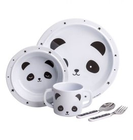 baby store in Canada - A Little Lovely Company Dinner Set Panda