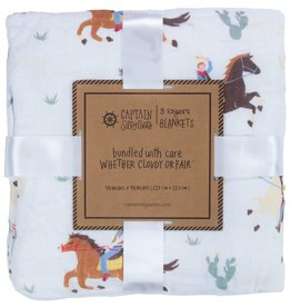 baby store in Canada - CAPTAIN SILLY PANTS Captain Silly Pants Cowboy Triple-layer Bamboo Blanket