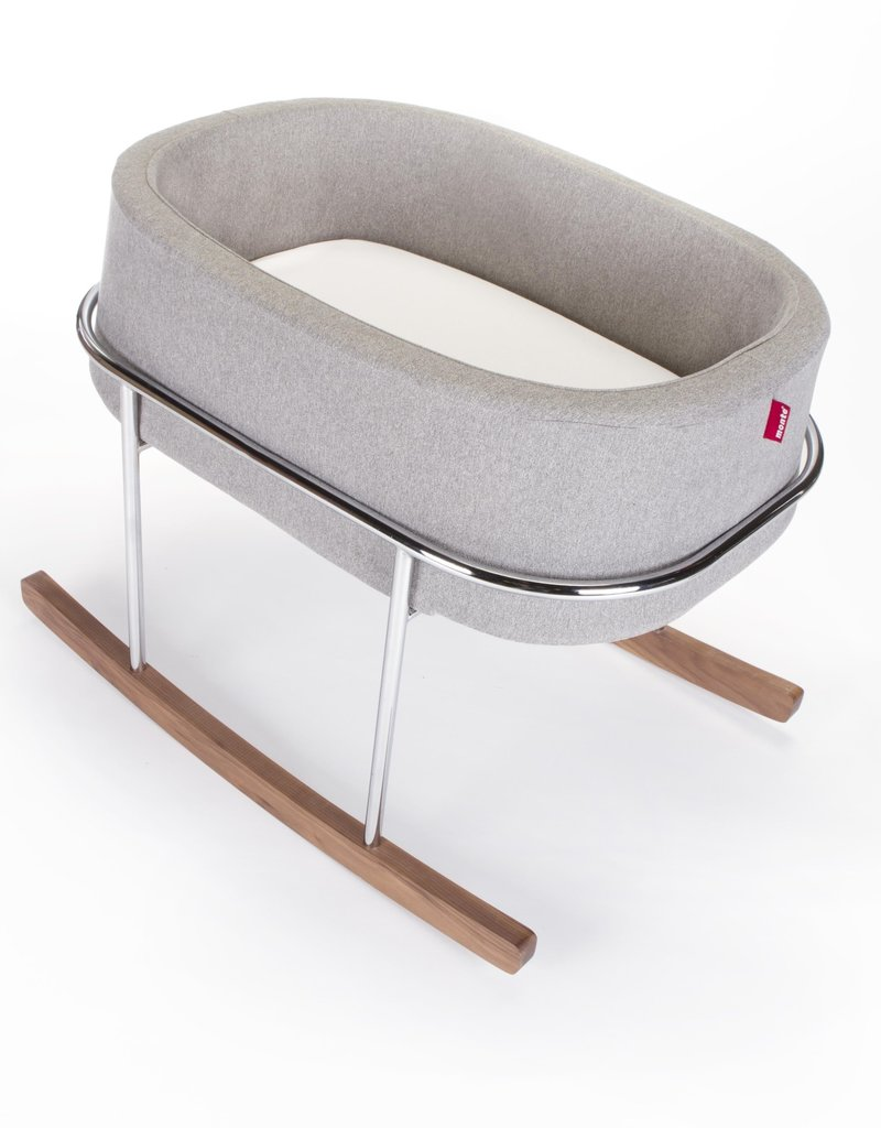 MONTE Monte Rockwell Chrome Stand Bassinet Grey/Walnut