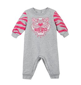 baby store in Canada - KENZO Kenzo Baby Girls Light Marled Grey Tiger Playsuit