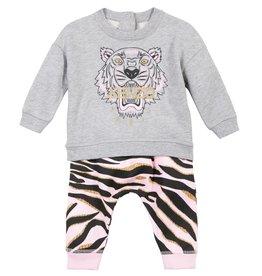 baby store in Canada - KENZO Kenzo Baby Girls Light Marled Grey Tiger Sweatshirt +Pant Set