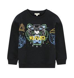 baby store in Canada - KENZO KENZO Black Cotton Tiger Sweatshirt Toddler - TIGER JB 6