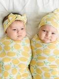 baby store in Canada - LITTLE SLEEPIES LITTLE SLEEPIES LEMONS BAMBOO VISCOSE SWADDLE + HAT SET