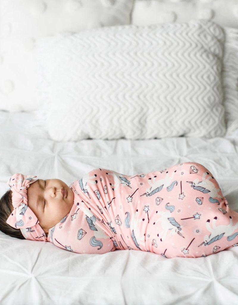 baby store in Canada - LITTLE SLEEPIES LITTLE SLEEPIES UNICORNS BAMBOO VISCOSE SWADDLE + HEADBAND SET