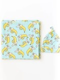 baby store in Canada - LITTLE SLEEPIES LITTLE SLEEPIES BANANAS BAMBOO VISCOSE SWADDLE + HAT SET