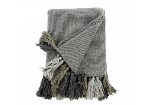 Chunky Tassel Throw Grey