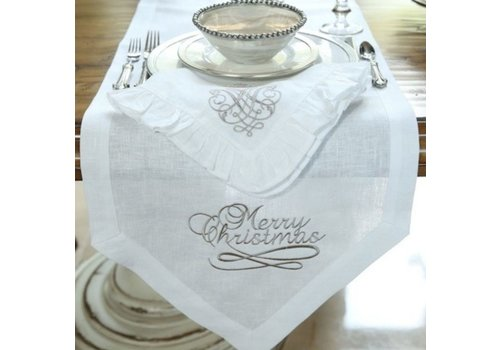 Table Runner Merry Christmas White (Taupe) 108''
