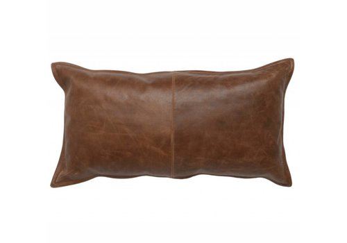 Leather Kona Brown Pillow  14 x 26
