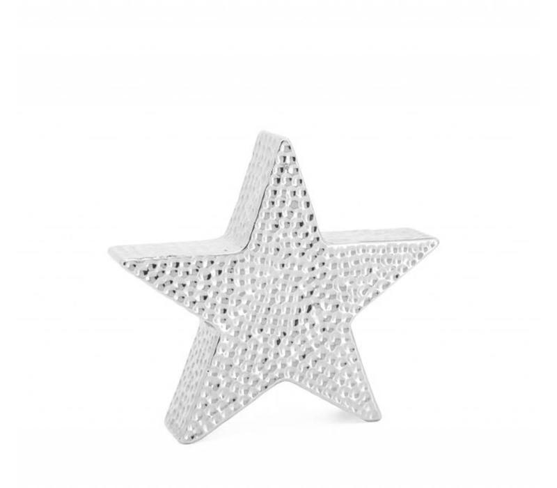 "Bold Hammered Ceramic 8.5"" Star Sculpture"