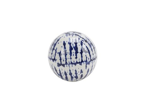 Blue/White Ceramic Orb - 4""