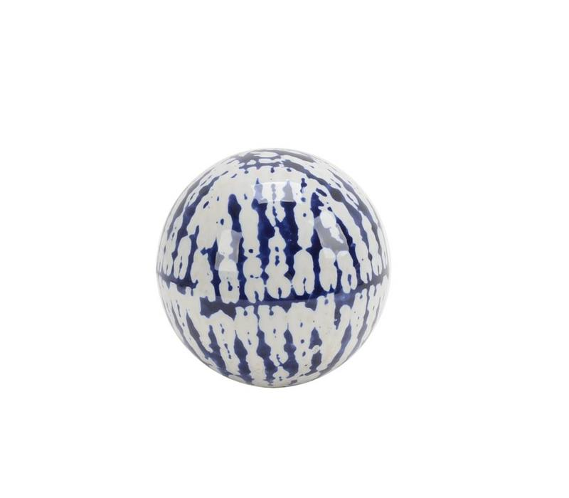 "Blue / White Ceramic Orb 3.25"""