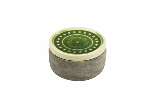 Round Cement Container Green Glazed Lid 3.75