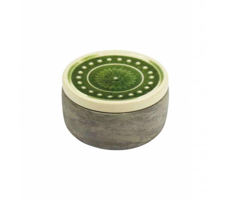 """Round Cement Container, Green Glazed Lid - 3.75"""""""