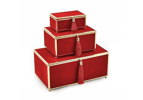 Red Velveteen Set of 3 Boxes